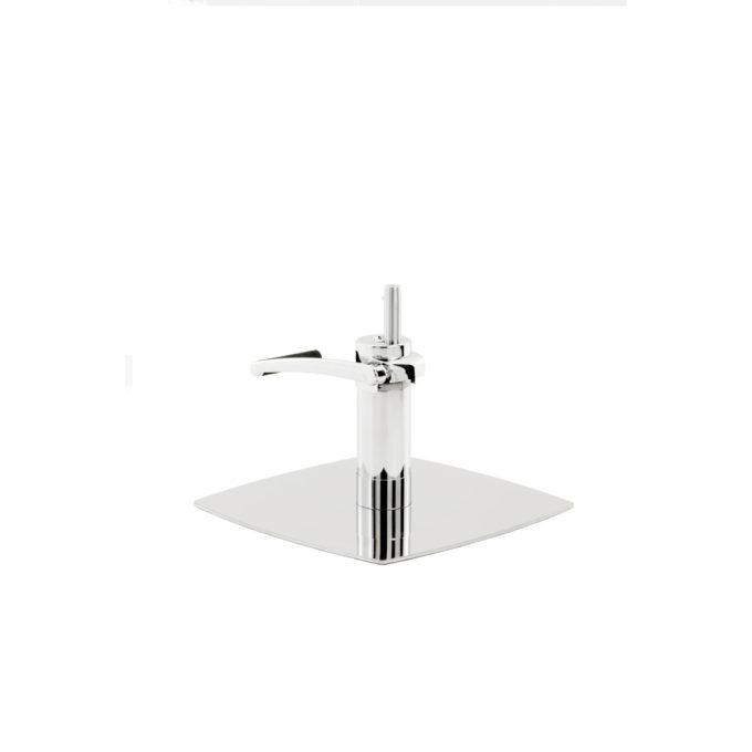 Pied de fauteuil de coiffure carré et légèrement arrondi en métal brillant avec pompe hydraulique