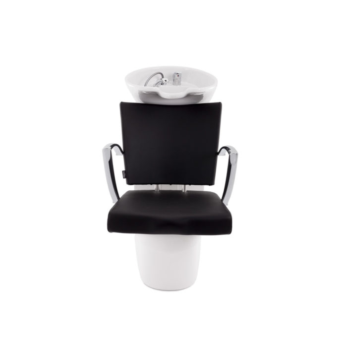 bac de lavage assise fauteuil en skai noir avec structure blanche et accoudoirs métal