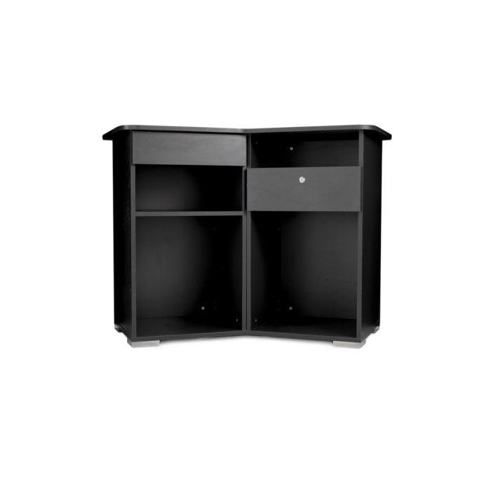 meuble noir de caisse avec tiroir à clé et rangement pour clavier