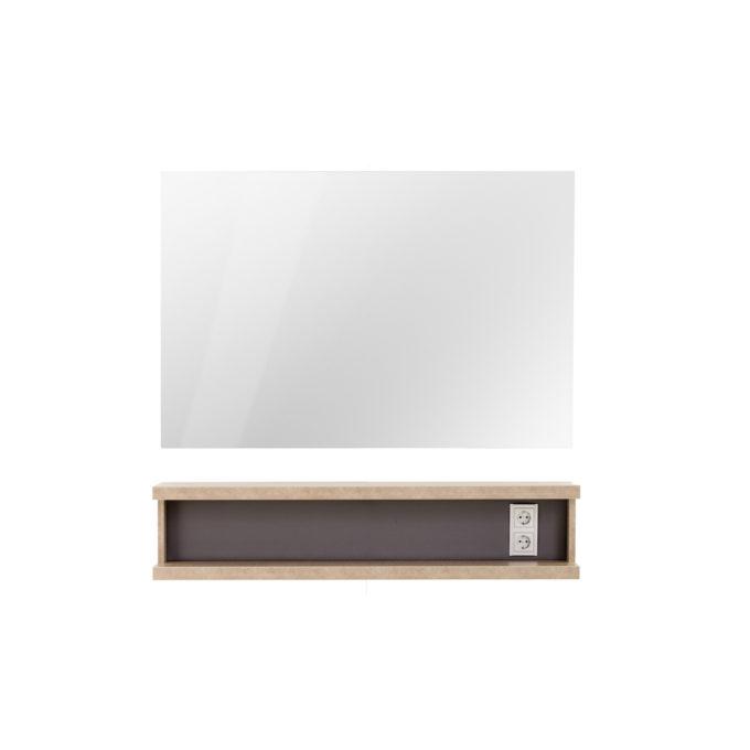Coiffeuse murale bois naturel avec grand miroir rectangle argenté et double prises blanches