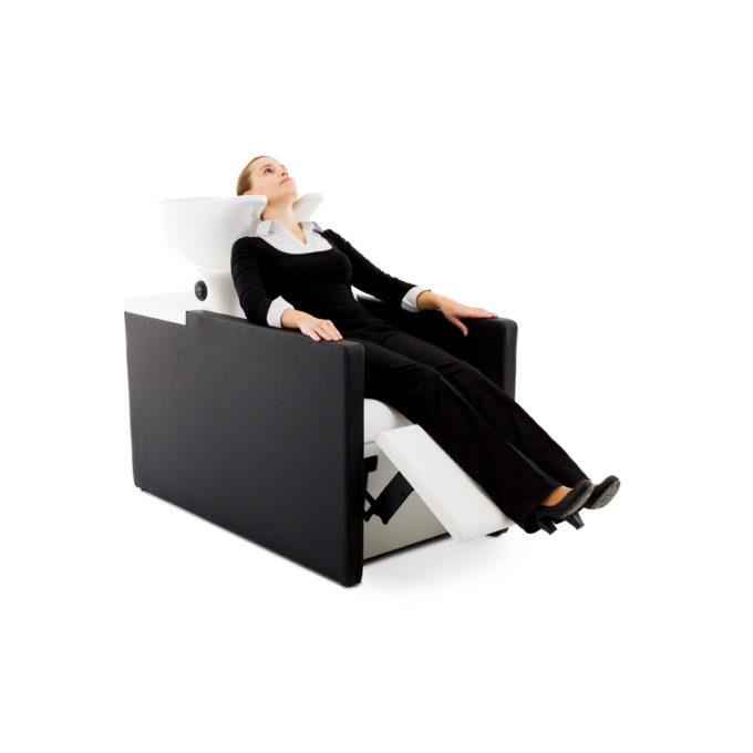 bacs à shampoing noir et blanc confortable avec repose jambes électrique
