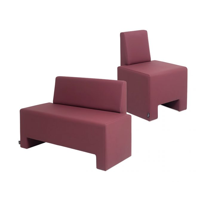 fauteuils 1 et 2 places d'attente, spécial petit espace couleur mauve