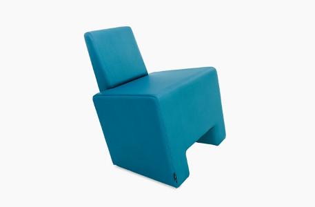 fauteuil attente moderne mousse et skai bleu