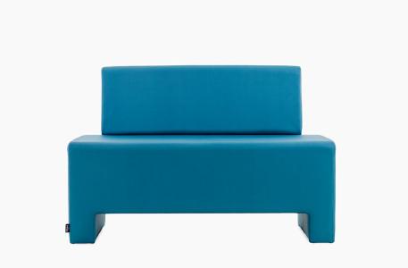 fauteuil 2 places d'attente en skai bleu