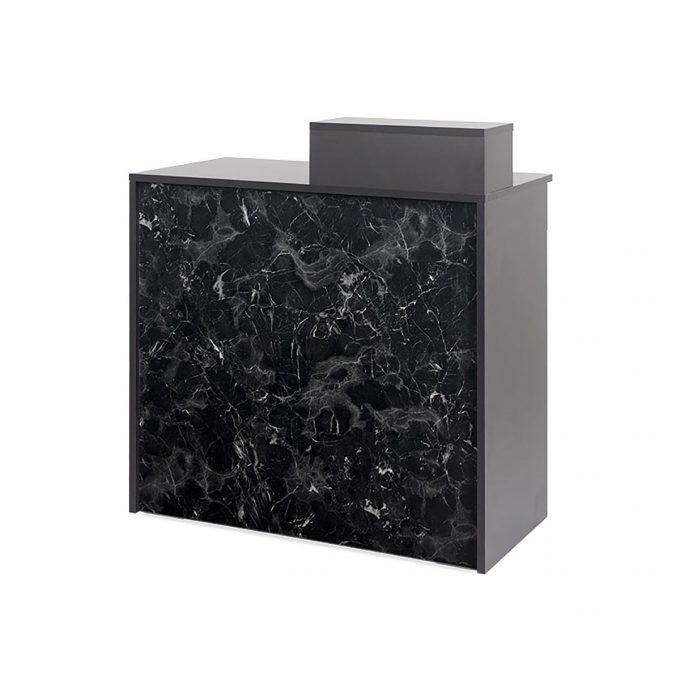 meuble reception caisse finition marbre et stratifié noir