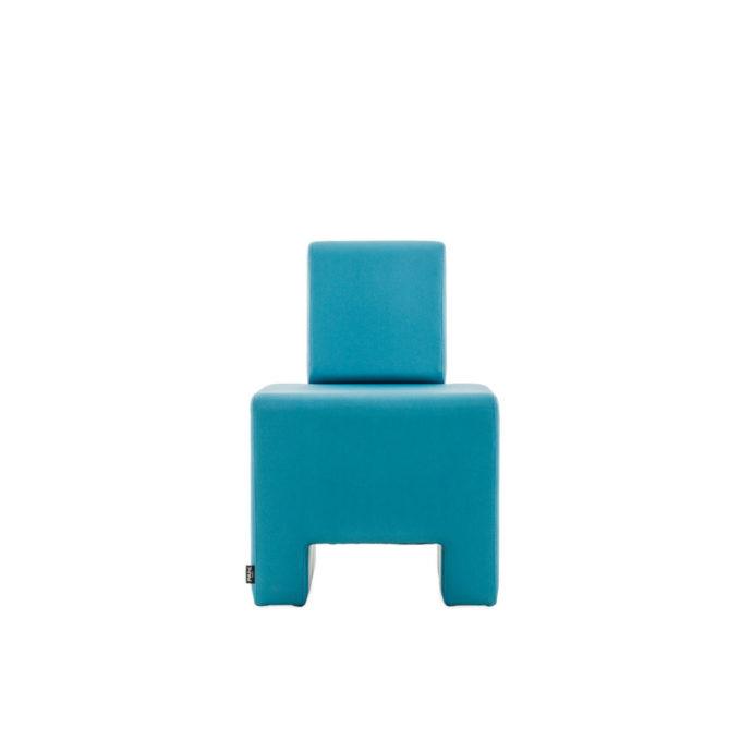 Siège en structure bois et mousse entièrement recouvert de skai bleu