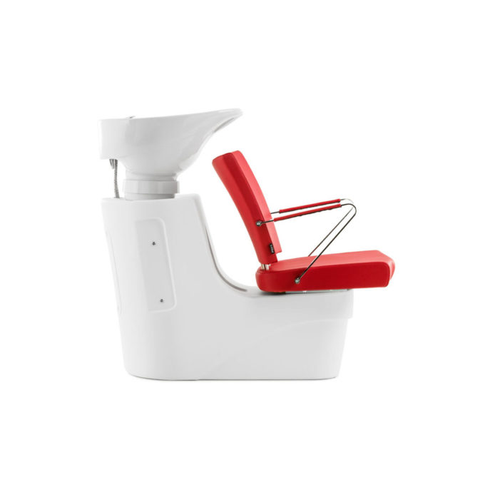 combiné fauteuil rouge et structure bac à shampoing en polyuréthane blanc
