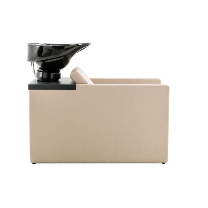 bac de lavage beige avec vasque noire