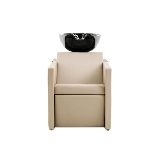 bac à shampoing vasque noire et textile beige
