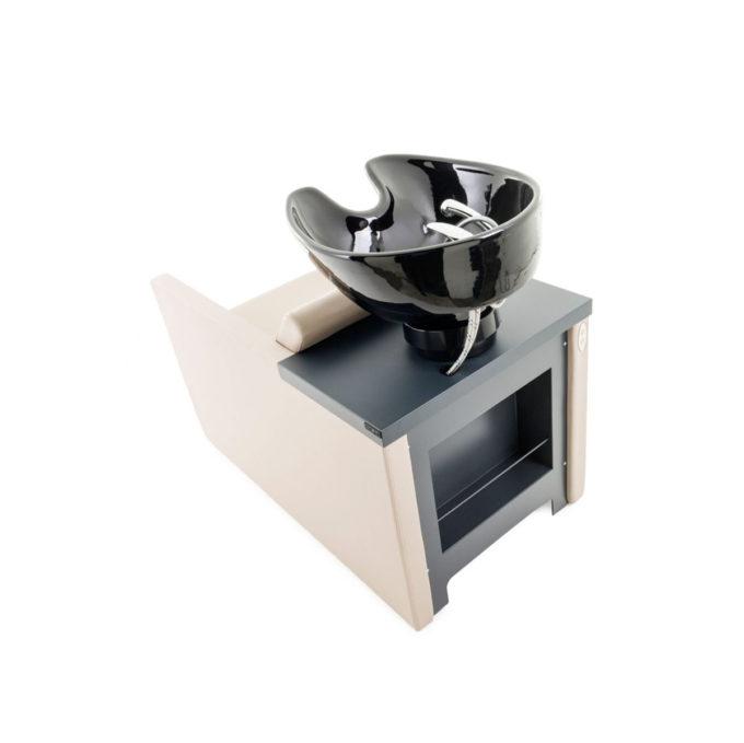 bac de lavage vasque noire avec revêtement couleur crème