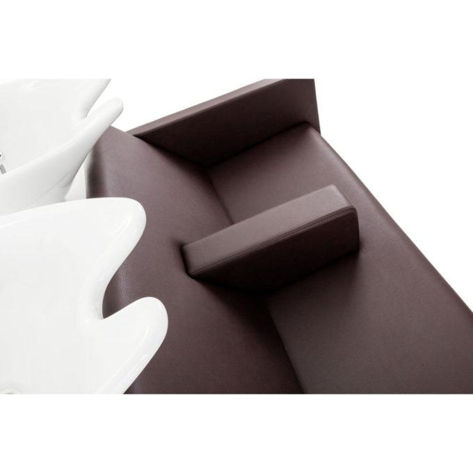 bac à shampoing vasques en céramiques blanches, faux cuir marron