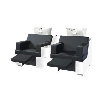 Bac à shampoing en bois stratifié blanc avec assise et relax électrique en similicuir noir 2 vasques