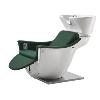 Bac à shampoing blanc et vert avec repose jambes électrique