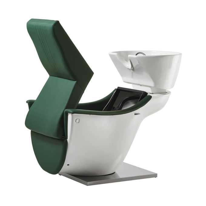 Bac à shampoing blanc et vert avec siège relevable