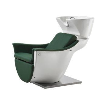 Bac à shampoing Pod design contemporain blanc et vert