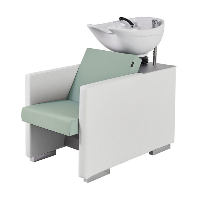 bac de lavage blanc et vert pastel revêtement skai, vasque basculante blanche