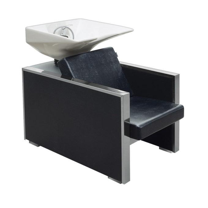 bac à shampoing finition skai noir effet crocodile et angles en métal brillant avec évier en céramique blanc