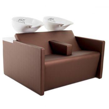 Double bac de lavage couleur caramel avec grand accoudoir de séparation et vasques blanches