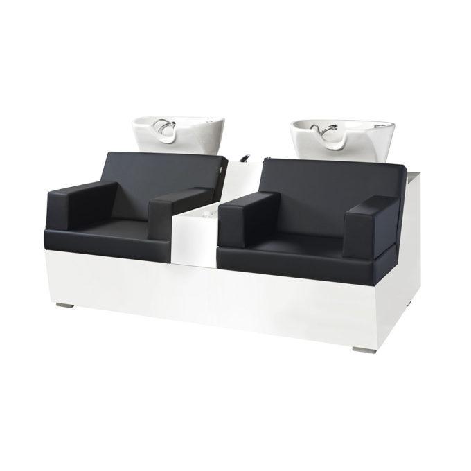 bac de lavage 2 places en bois stratifié blanc, séparation entre les sièges, assises en skai noir