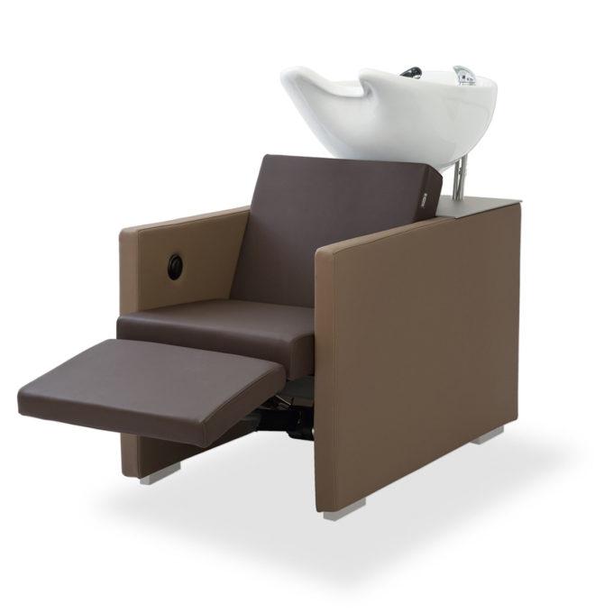 bac à shampoing avec reposes jambes électrique accoudoirs carmels et assise chocolat noir