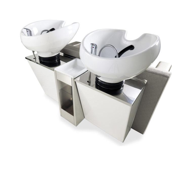 bac de lavage napoleon avec structure en laminé blanc et vasques basculantes en céramique