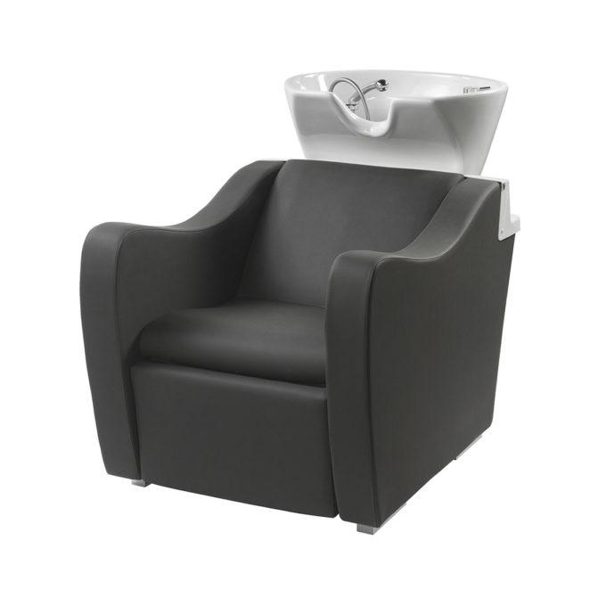bac de lavage noir avec accoudoirs confortables