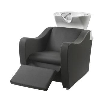 Bac de lavage relax noir avec accoudoirs ergonomiques