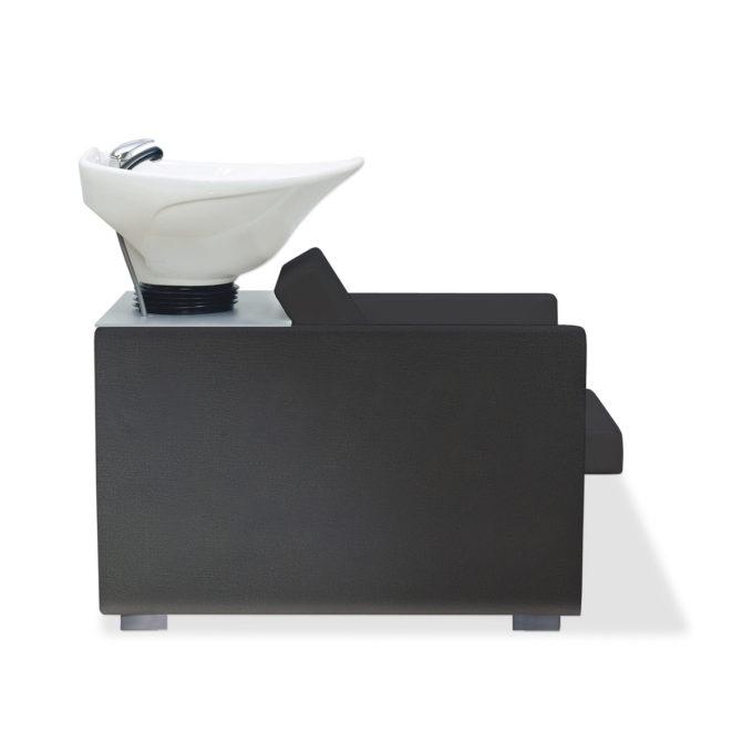 bac de lavage en similicuir noir et stratifié rangements et vasque blanche