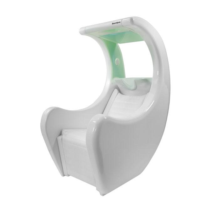 bac à shampoing massage blanc brillant avec éclairage vert, prise usb, iphone, ipod