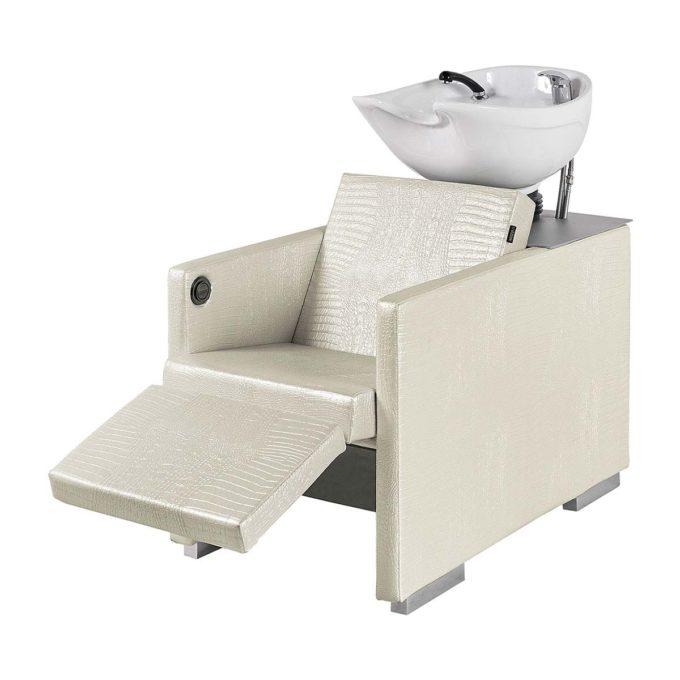 Bac de lavage repose jambes similicuir blanc nacré effet crocodile