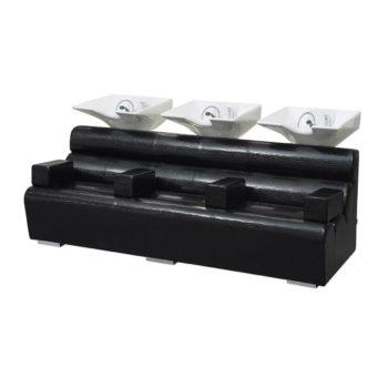 Bac de lavage 3 places noir avec grands accoudoirs finitions effet crocodile