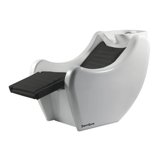 Bac à shampoing avec relax électrique avec structure en fibre de verre blanc brillant et siège en imitation cuir noir