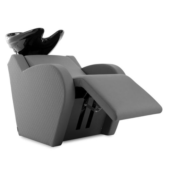 Bac à shampoing gris avec formes rondes, repose jambes ajustable, vasque en céramique noire