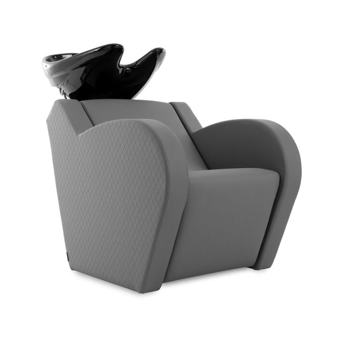 Bac à shampoing avec évier noir, douchette et mitigeur, assise rembourrée couverte de skai gris