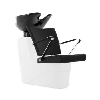 Bac à shampoing structure en polyéthylène blanc avec siège noir et accoudoirs en métal