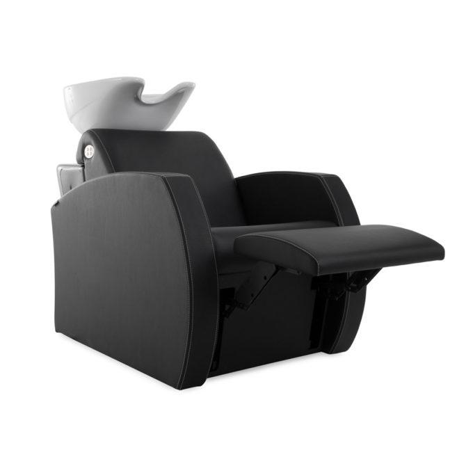 Bac à shampoing noir avec accoudoirs larges, repose jambes électrique, vasque blanche