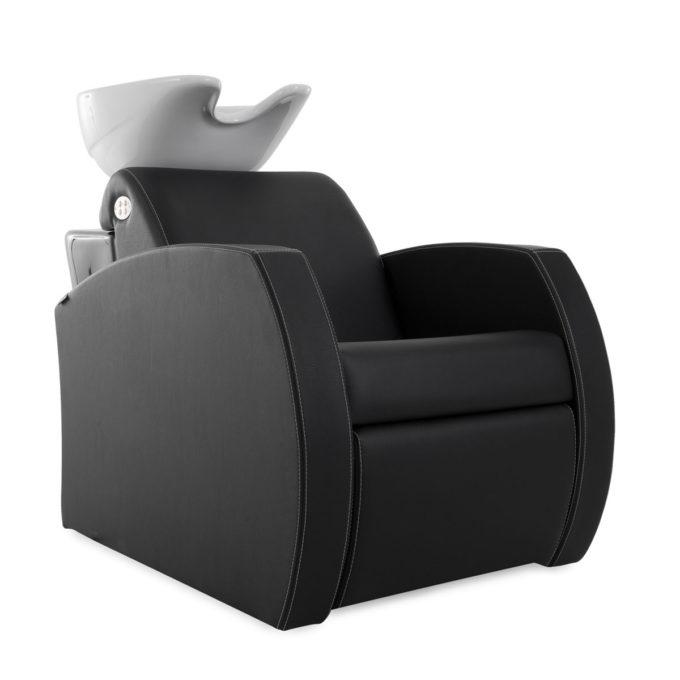 bac à shampoing noir en similicuir, assise large, design moderne