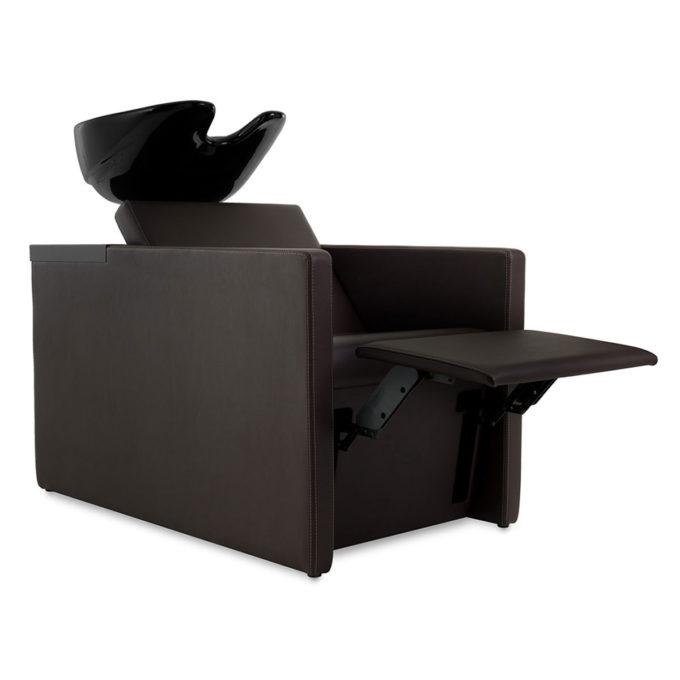 Bac de lavage en skai noir avec vasque en céramique noire et repose-pieds