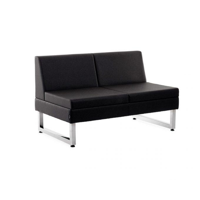 Banquette 2 places en similicuir noir design contemporain, 2 pieds acier brillant