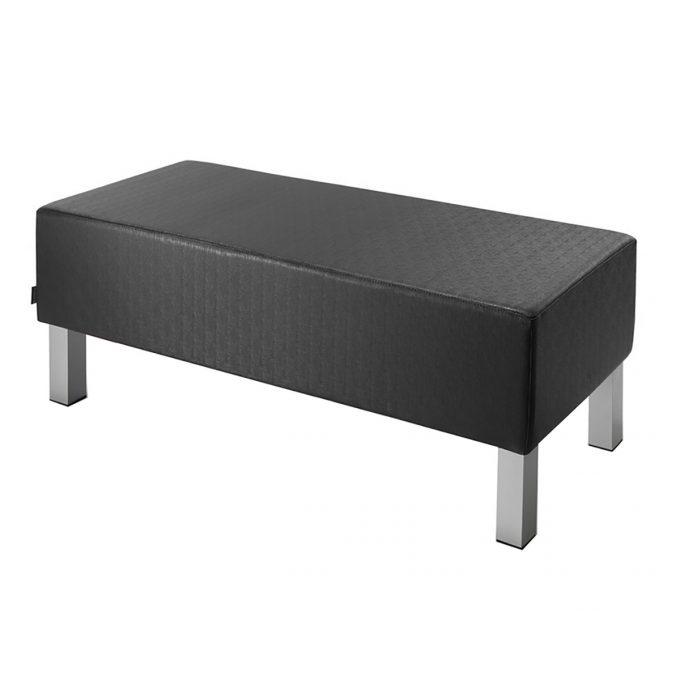 Banquette 2 places sur pieds carrés en métal, assise rembourrée, rectangle en skai marron foncé