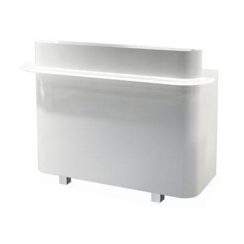 Meuble caisse de réception blanc avec pied en métal et éclairage LED en façade