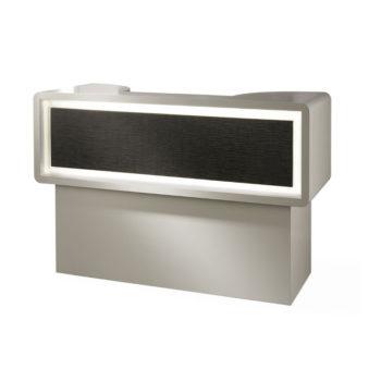Meuble de réception caisse en bois stratifié avec panneau frontal en similicuir noir, éclairage LED