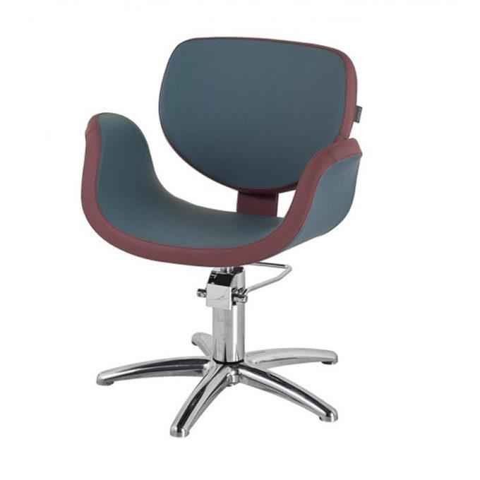 siège de coiffage forme incurvé avec accoudoirs et assise en un bloc, bleu et bordeaux, pied étoile chromé