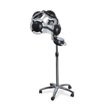Casque chauffant de coiffeur gris métallisé et noir sur pied avec roulettes, 10 programmes de travail
