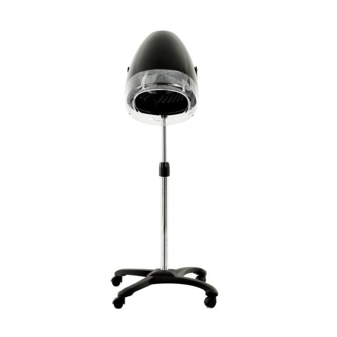 casque de coiffure chauffant, sur pied avec roulettes, minuterie 60 secondes, 2 vitesses, noir