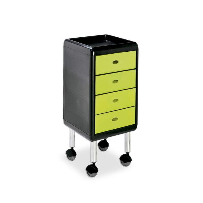 Chariot de coiffure sur roulettes et table de service avec tablette et 4 tiroirs verts anis