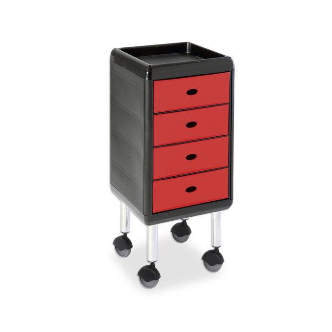 Chariot de coiffure sur roulettes et table de service avec tablette et 4 tiroirs rouge