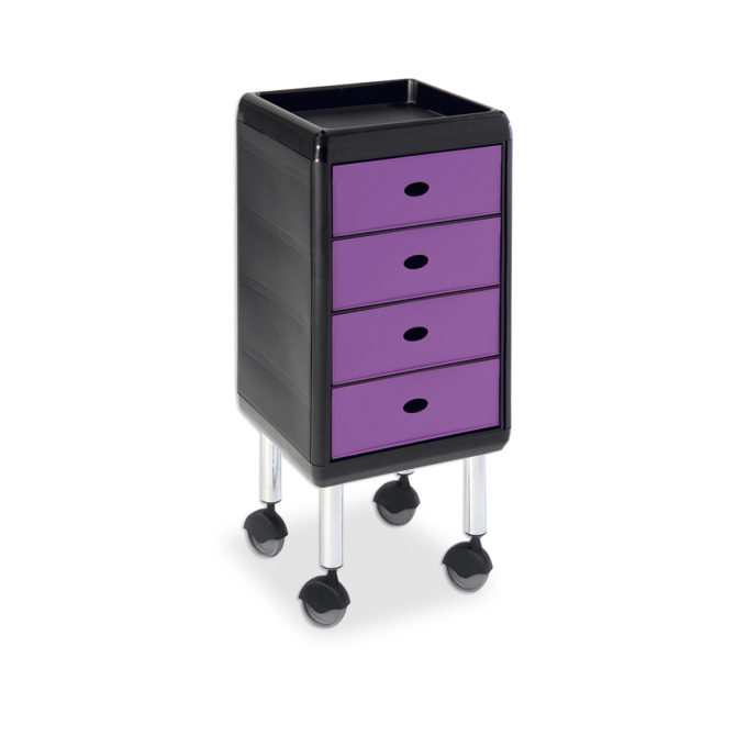 Chariot de coiffure sur roulettes et table de service avec tablette et 4 tiroirs violets