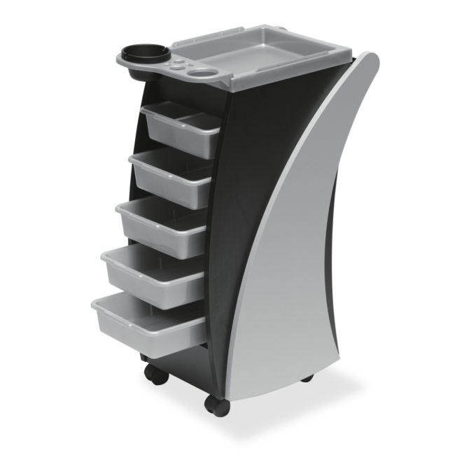 chariot de coiffure et coloration sur roulettes en stratifié gris et noir avec 5 tiroirs en plastiques