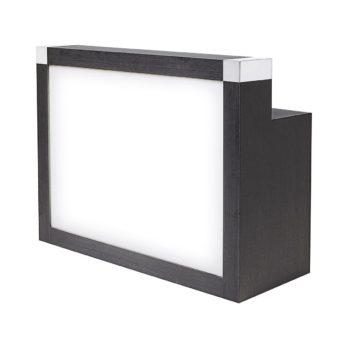 meuble caisse avec panneau frontal lumineux noir et métal